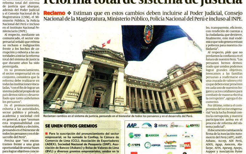 Sector empresarial demanda iniciar reforma total de sistema de justicia