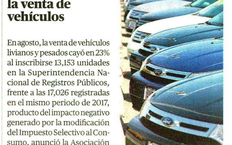 Disminuye la venta de vehículos en agosto