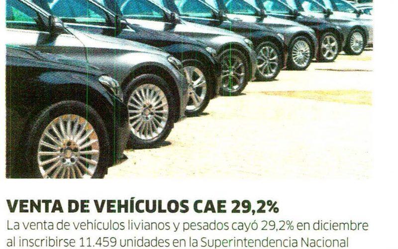 AAP: Venta de vehículos cayó 29.2% en diciembre