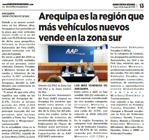 Arequipa es la región que más vehículos nuevos vende en el sur