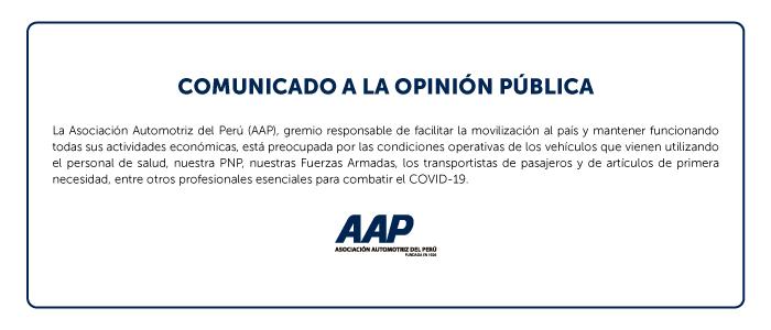 AAP invoca al Gobierno a autorizar actividades esenciales mínimas para atender al transporte en Estado de Emergencia