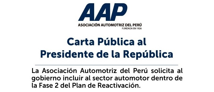 Carta pública de la Asociación Automotriz del Perú al Presidente Martín Vizcarra